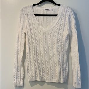 535 America white cable knit sweater